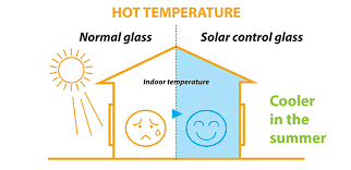 Soilar control glass acts a a barrier to minimise solar energy gain in summer and provide more comfort to the occupants.